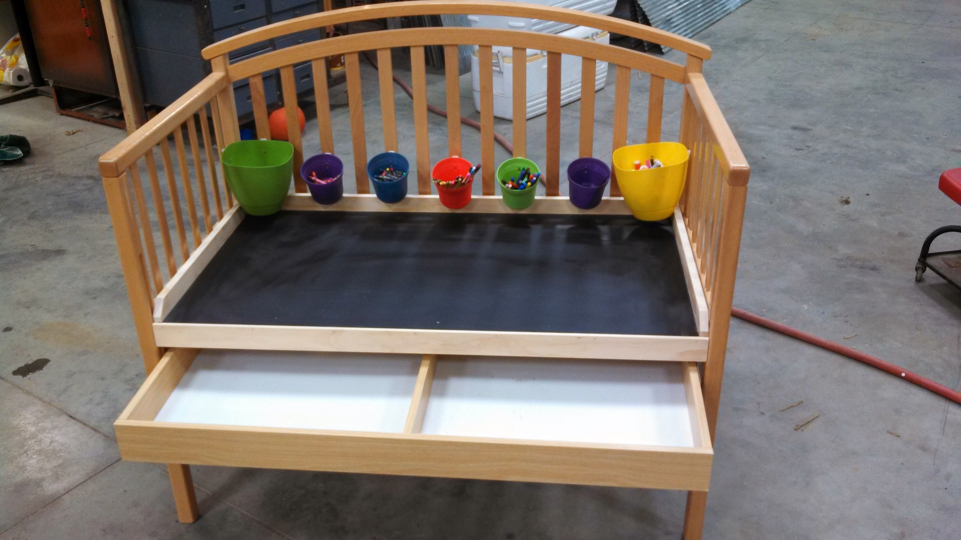 Toddler Bed Converted To A Kids Desk With Chalk Board