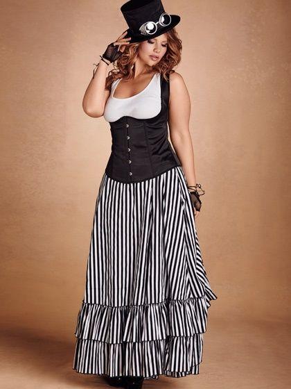 Striped Victorian Bustle Skirt - Black & White | Steampunk | Bustle ...
