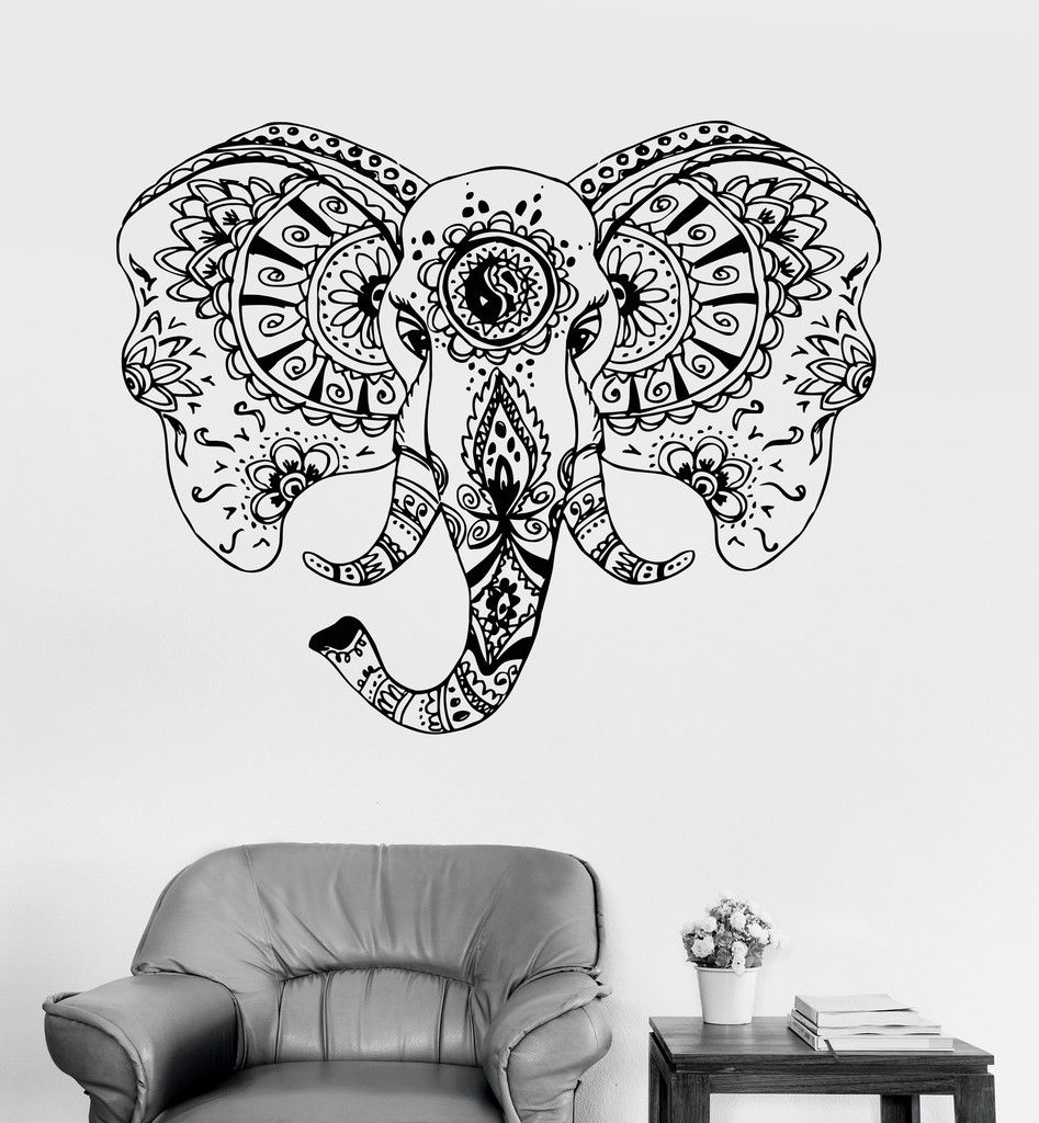 Pochoir Mandala Mural Vinyl Wall Decal Elephant Head Animal Tribal Ornament Stickers