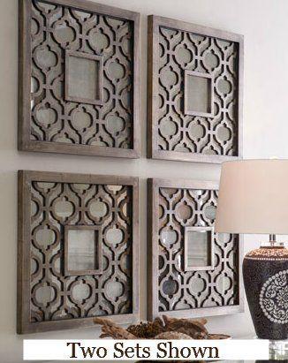 Amazon Com Silver Square Fretwork Wood Mirror Wall Art Pair