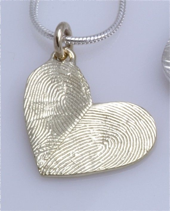 Sterling silver custom double thumbprints pendant or charm heart make easily with salt dough 2 cups flour 1 cup salt cold water aloadofball Choice Image