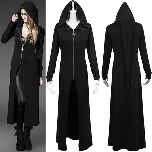 Long Black Hooded Coat | Down Coat