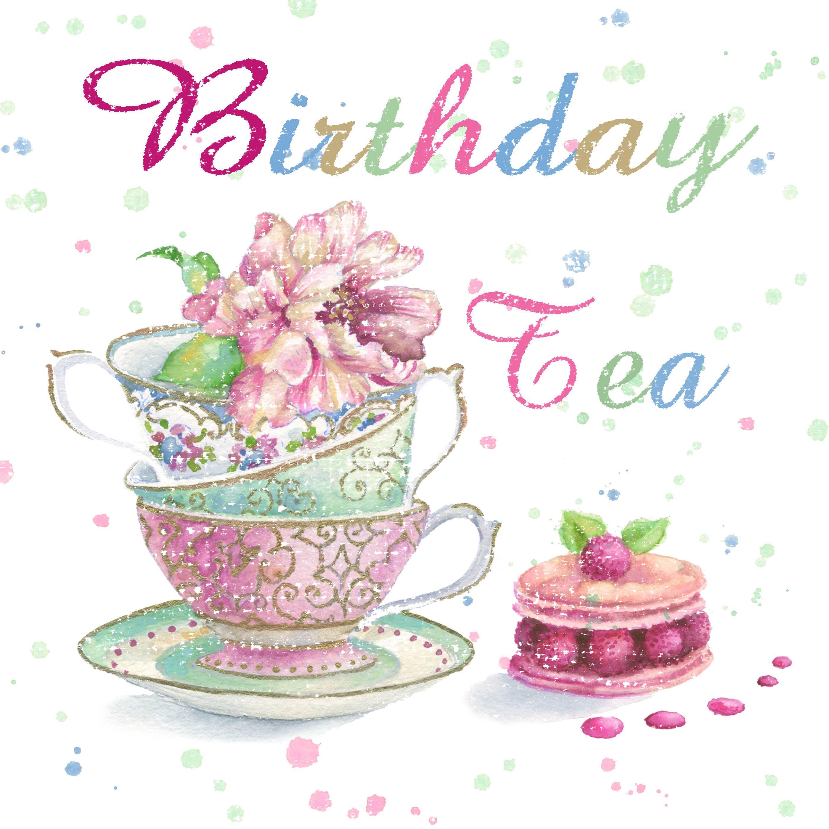 Raspberry Macaroon China Tea Cups Greeting Card Design Kark