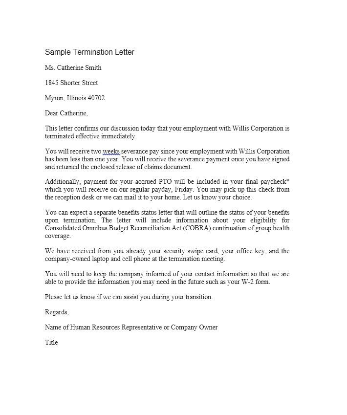 Perfect Termination Letter Samples Lease Employee Contract Poor