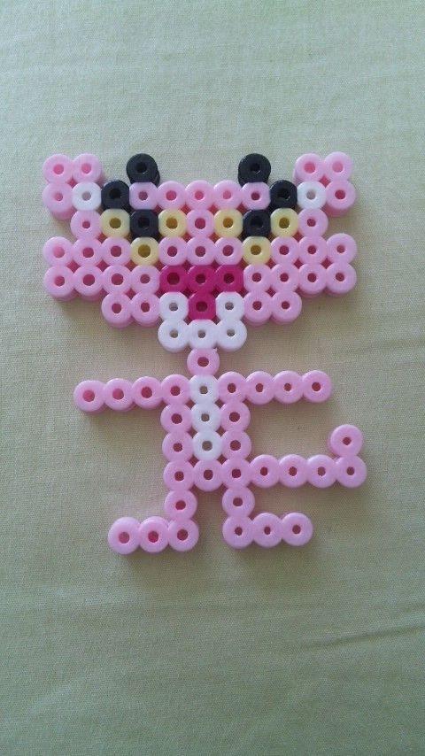 Růžový panter | Plantillas hama beads, Hama beads cuadros