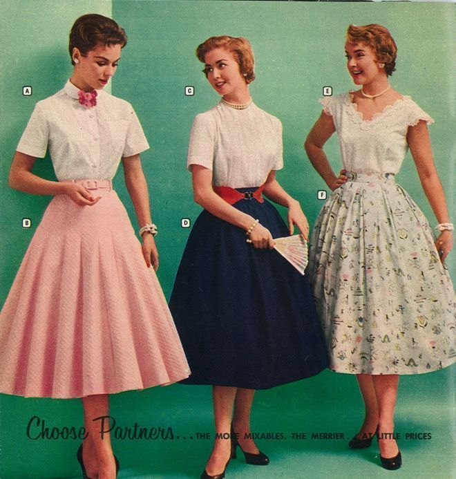 1950s fashion advertising for coordinates skirts and blouses. 1950s Style/ 50s Style/ 1950s Dress #1950s #1950sfashion #1950sstyle #1950sdress #skirts #blouse #vintagestyle