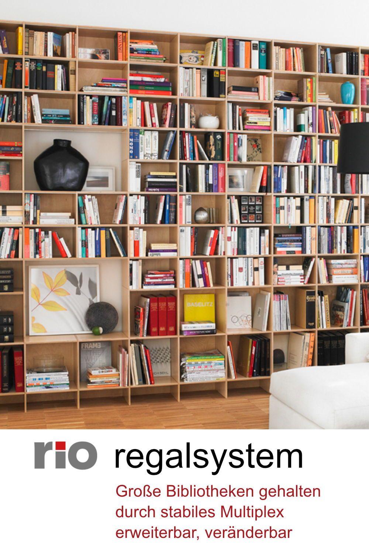 Grosse Bibliothek Zuhause Mit Rio Regalsystem Bibliothek Zuhause Bucherregal Regal