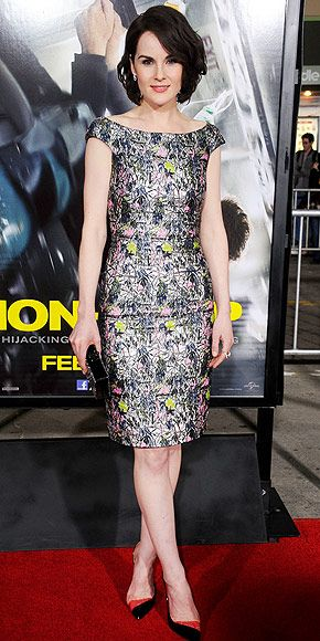 Last Night's Look: Love It or Leave It? | MICHELLE DOCKERY | Non-Stop may be the name of the actress's new movie, but it also describes how much we've been talking about her colorful embroidered Christian Dior dress, teamed with two-tone Christian Louboutin pumps at the film's premiere in Westwood, Calif.