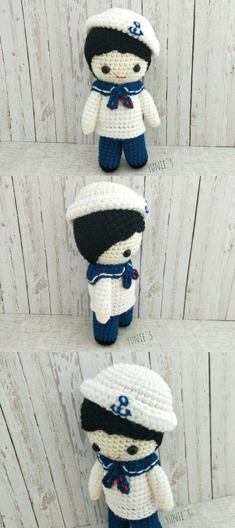 Crochet pattern Doll : Nautical Sailor Boy Doll Amigurumi Crochet ...