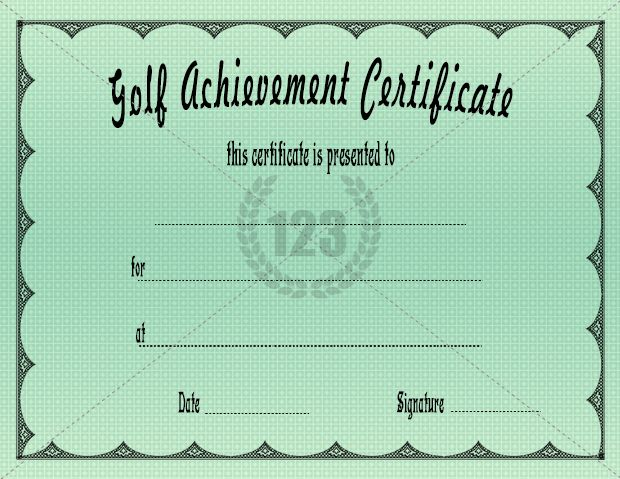 Golf Achievement Certificate Free Premium Certificate Templates - free certificate of achievement