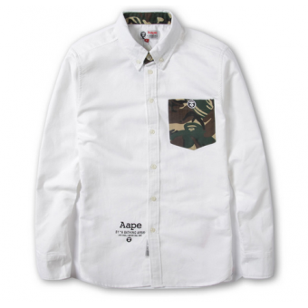 895a43ea AAPE BAPE Camo Pocket Oxford Button Up Shirt (White) #bape #aape  #streetwear #streetfashion #fashion #urbanwear #longsleeves #buttonupshirt