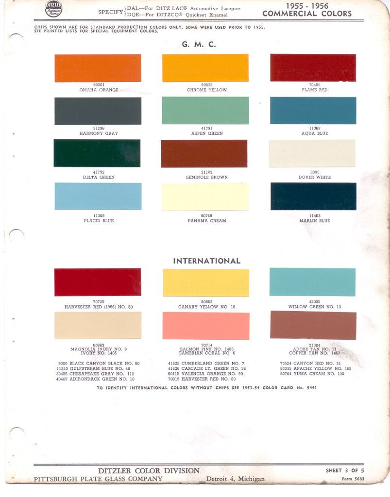 Gm 1955 Gmc Ppg C 01 Jpg 803 1024 Paint Color Chart Truck