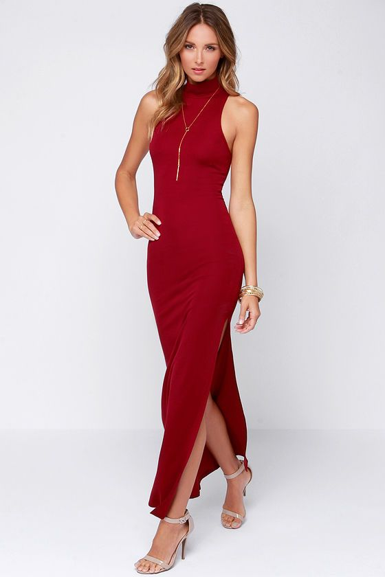 Exclusive As The World Curves Wine Red Maxi Dress Closet