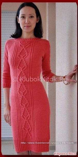 Шикарное платье с аранами - Вязание спицами - Страна Мам   ВЯЗАНИЕ ... eae42c15995