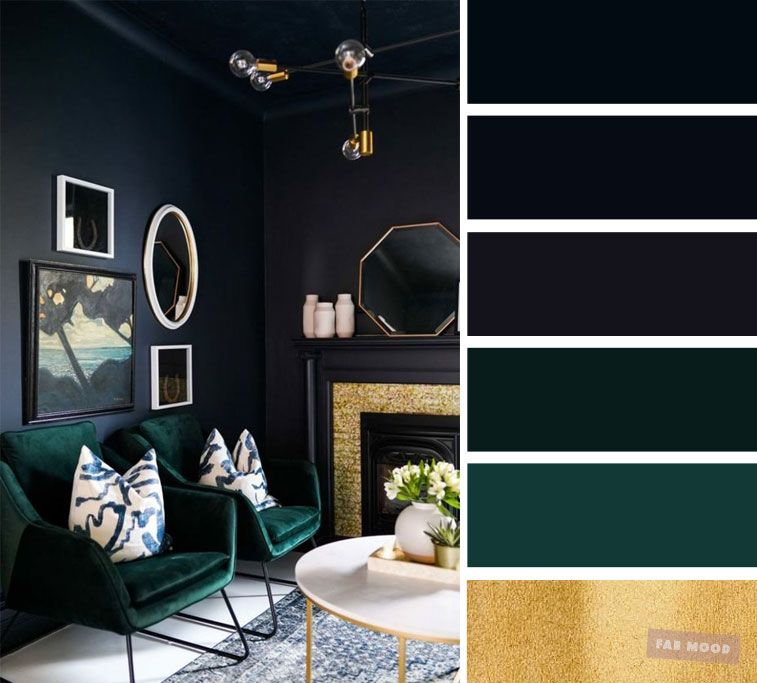The best living room color schemes - Dark blue, dark green, gold and Blueberry images