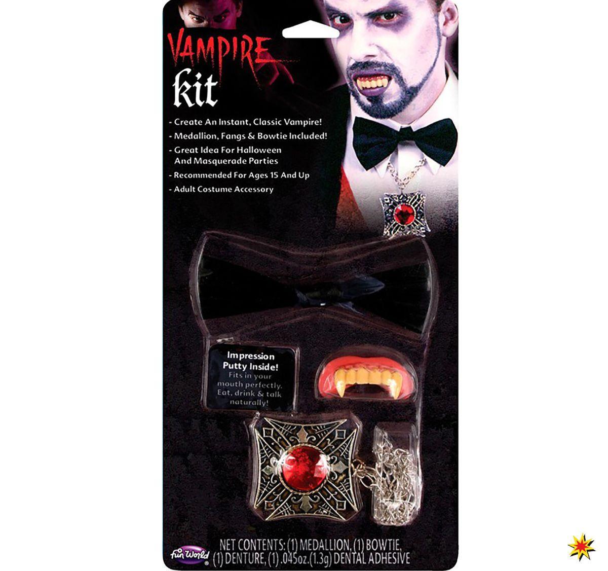 Halloween Vampir Set Eckzähne Fliege Medaillon Kostüm ...