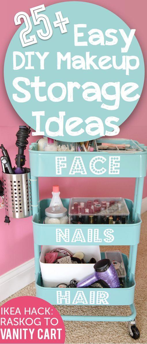 25 Brilliant And Easy Diy Makeup Storage Ideas Cute Diy Projects Easy Diy Makeup Diy Makeup Storage Makeup Organization Diy
