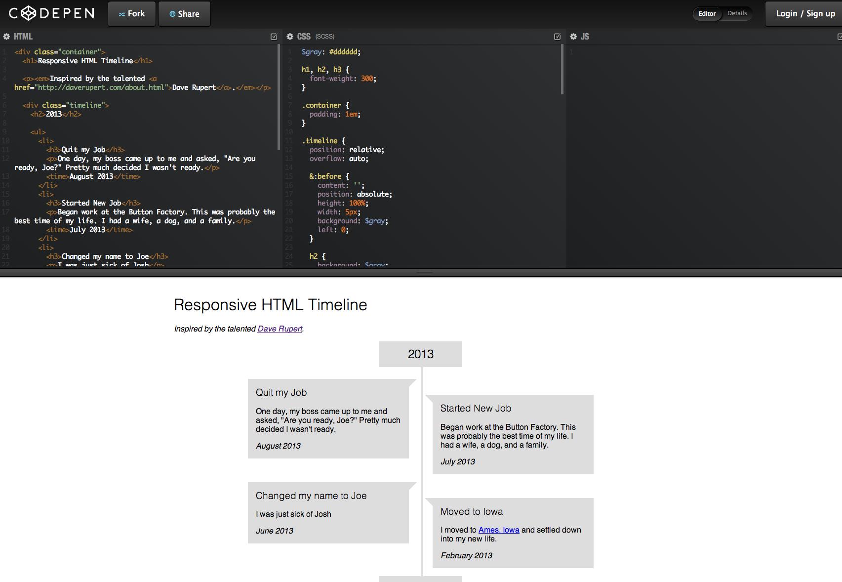 Responsive HTML Timeline code  HTML + CSS | Design Tips