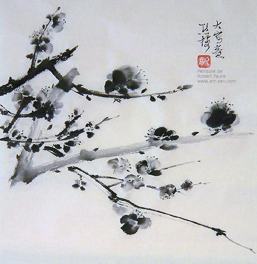 Art zen l 39 cole du dragon prunus en 2018 pinterest peinture prunier et art - Dessin arbre chinois ...