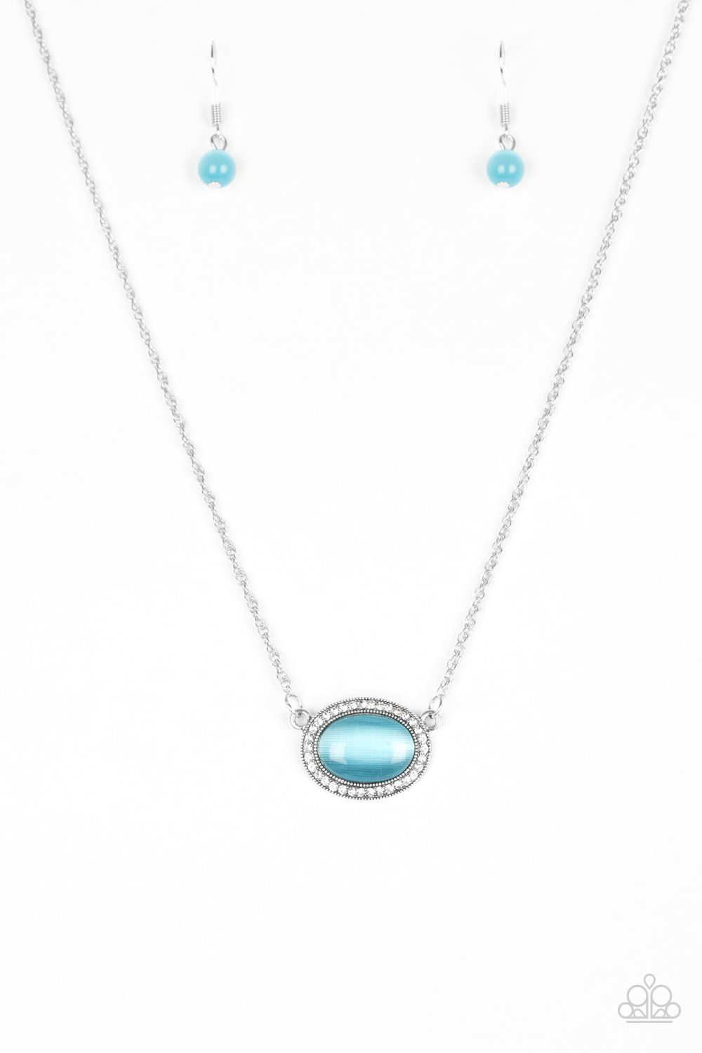 Paparazzi anything glows blue moonstone necklace and earring set