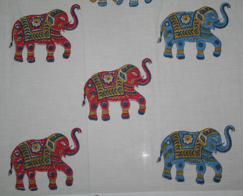 648582f136 Hand Block Print Fabric Multi Elephant Print Fabric 100% Cotton Fabric 10  Yard #Handmade