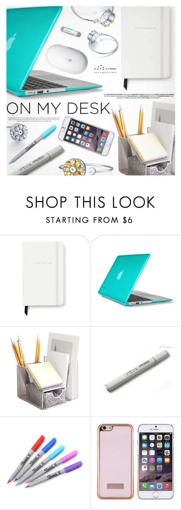 """""""What's on My Desk?"""" by totwoo ❤ liked on Polyvore featuring interior, interiors, interior design, home, home decor, interior decorating, Kate Spade, Speck, Dot & Bo and Sharpie"""