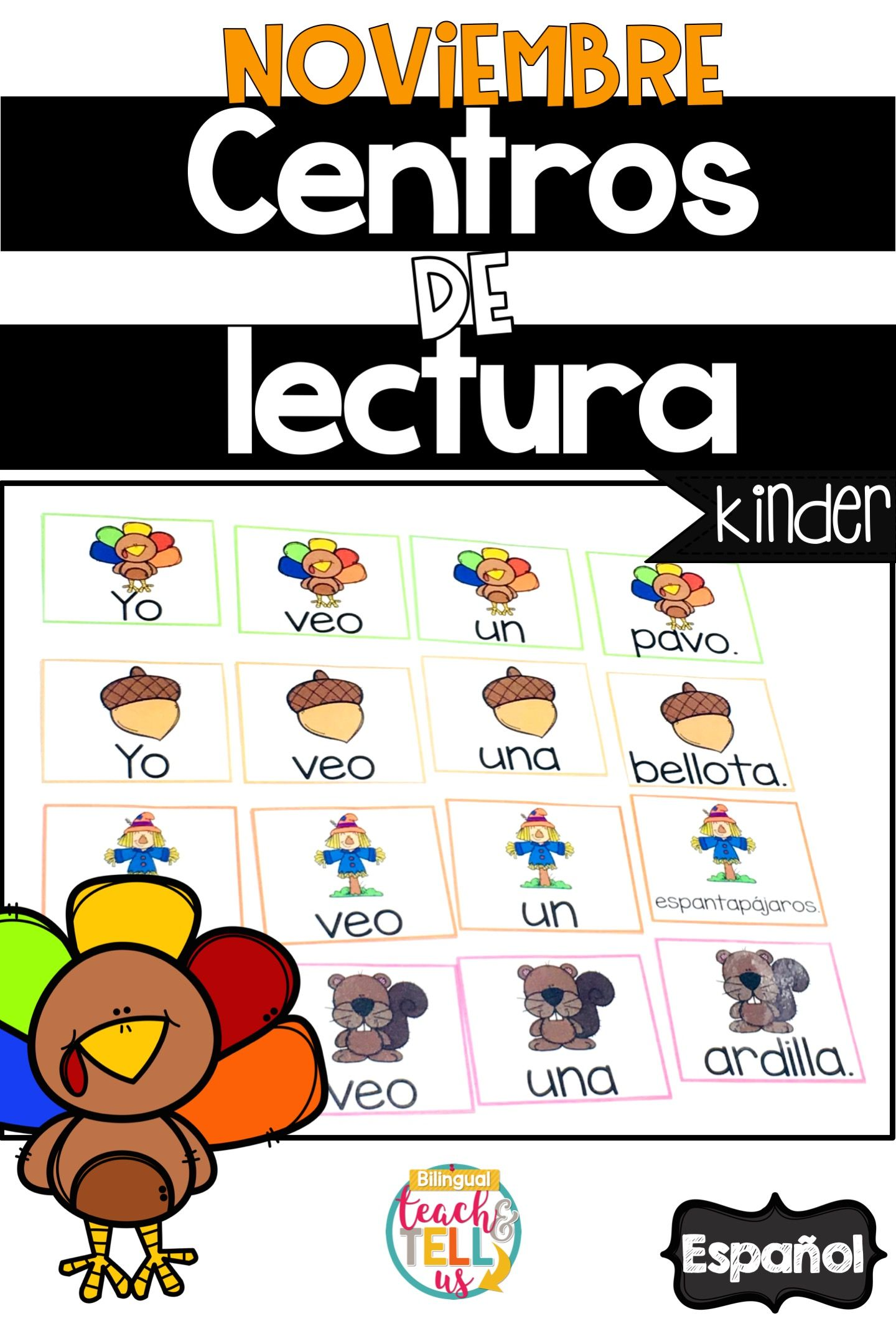 Kindergarten November Literacy Centers Ideas In Spanish To