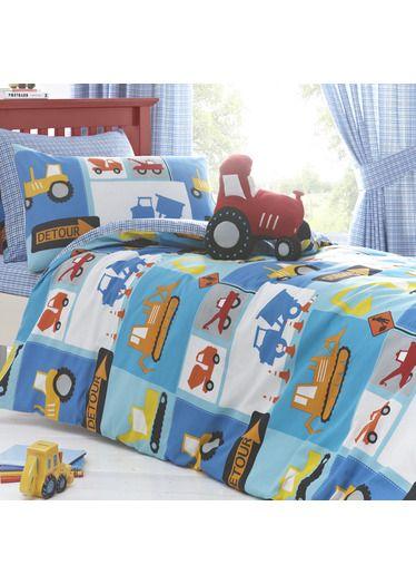 Just Kidding Detour Trucks Tractor Blue Boys Kids Duvet Quilt Cover Bedding Set