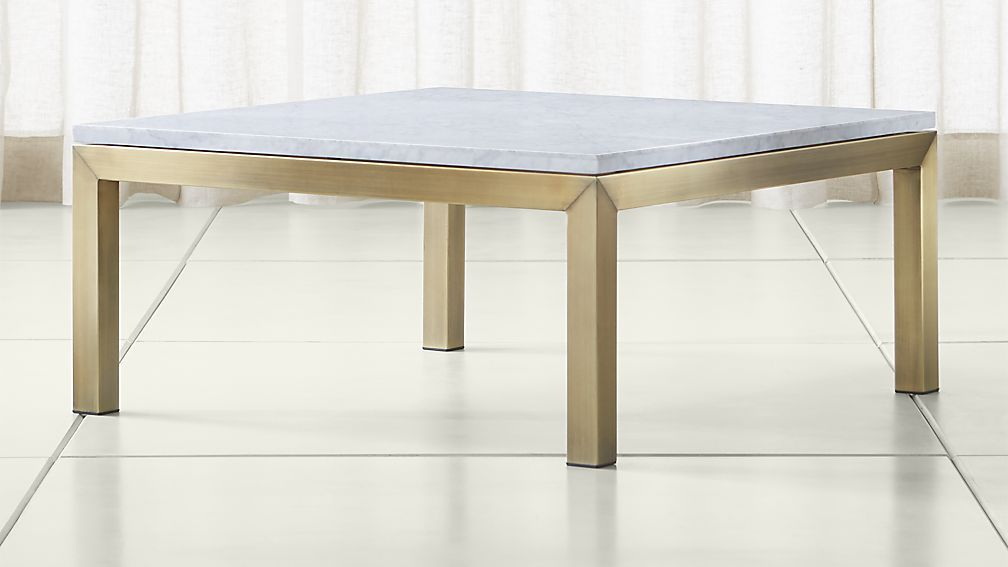 Parsons White Marble Top Brass Base 36x36 Square Coffee Table