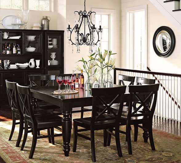 Decorating With Chandeliers Chandelier Lighting Fixture From - Pottery barn black dining table