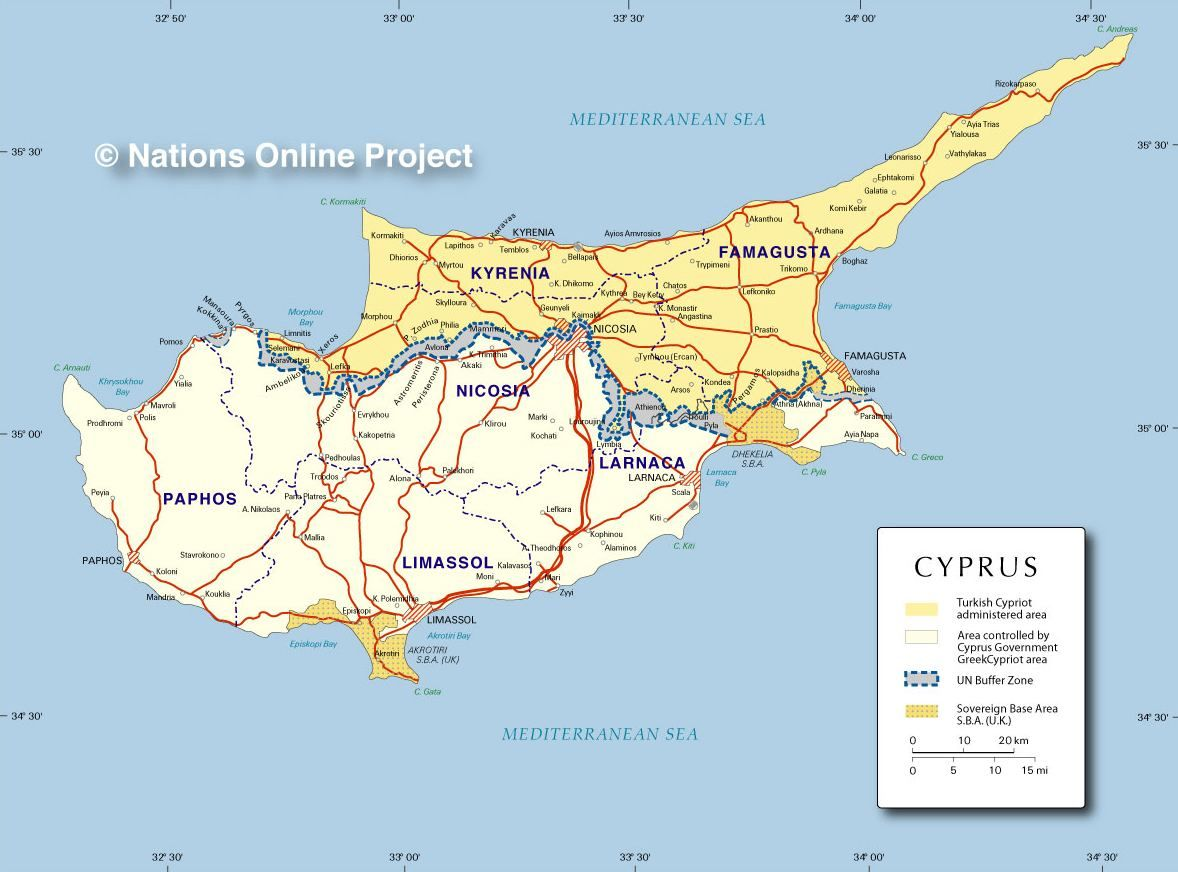 Mediterraneo Cartina Geografica.Mappa Cipro Cartina Di Cipro Cipro Mappa Viaggi