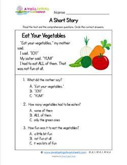 Kindergarten Short Stories - Eat Your Vegetables | Grammar ...
