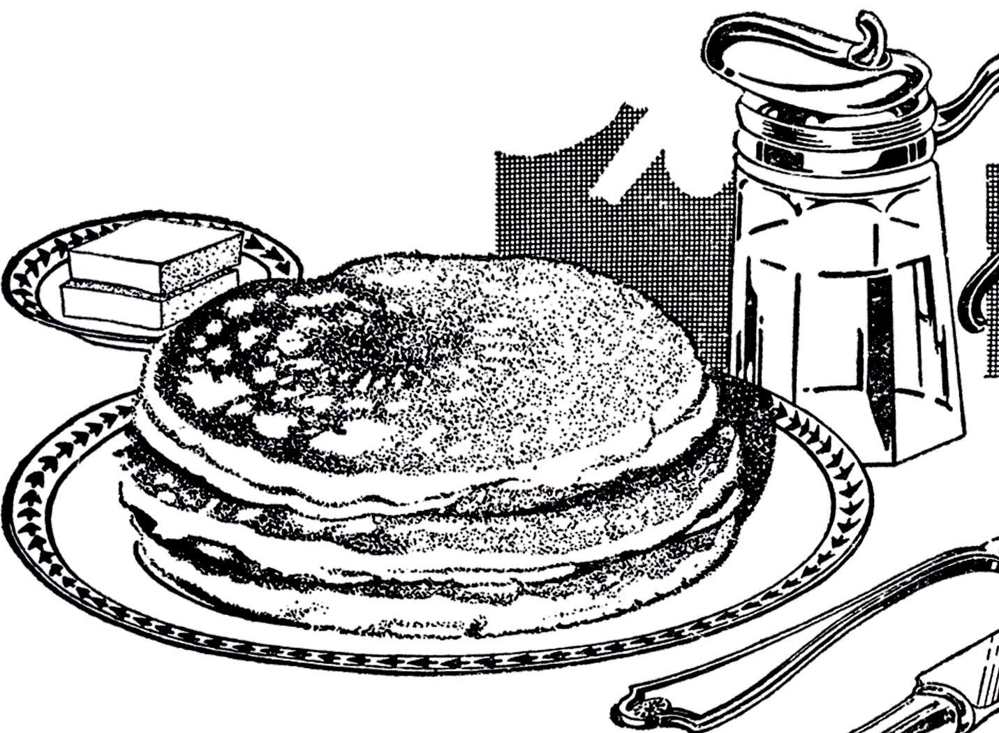 Vintage Pancake Breakfast Image The Graphics Fairy Breakfast Pancakes Pancakes Graphics Fairy