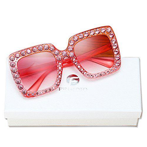 d26b3a76b0 FEIRDIO Oversized Crystal Sunglasses For Women ¨C FEIRDIO Sparkling Square  Thick Sunglasses FD 2264