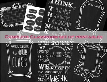 This is a great set for all your classroom bulletin boards to feature student work, welcome parents, labels, and rules in a chalkboard theme. They all print at Staples as a 16x24 engineering print for $1.79 and a 24x36  for $3 each. (The labels print 8.5x11 on a regular printer or staples prints those too) I like to print it and cut around the white to make it look just like a frame and laminate it.