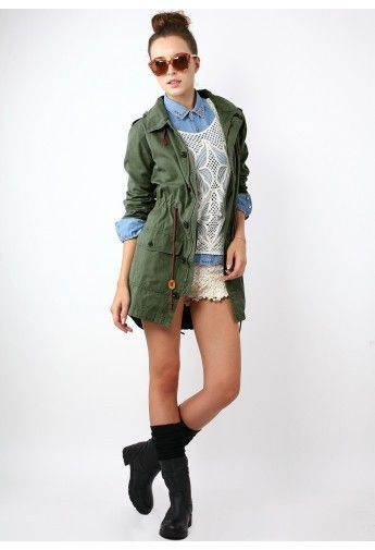 Army green military style hooded parka coat