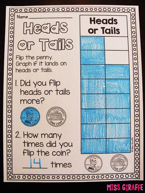 Heads or tails bar graph math center kids flip  coin until one gets to the top and wins then answer questions about they made also graphing data analysis in first grade cool stuff rh pinterest
