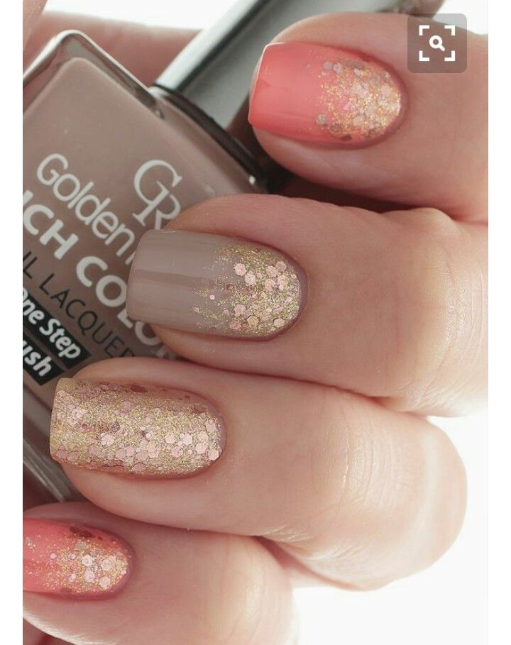 Change the coral to plain nude. Full glitter on accent and partial on thumb! - Pin By Gracie Hernandez On Nails Galore!! Pinterest Make Up