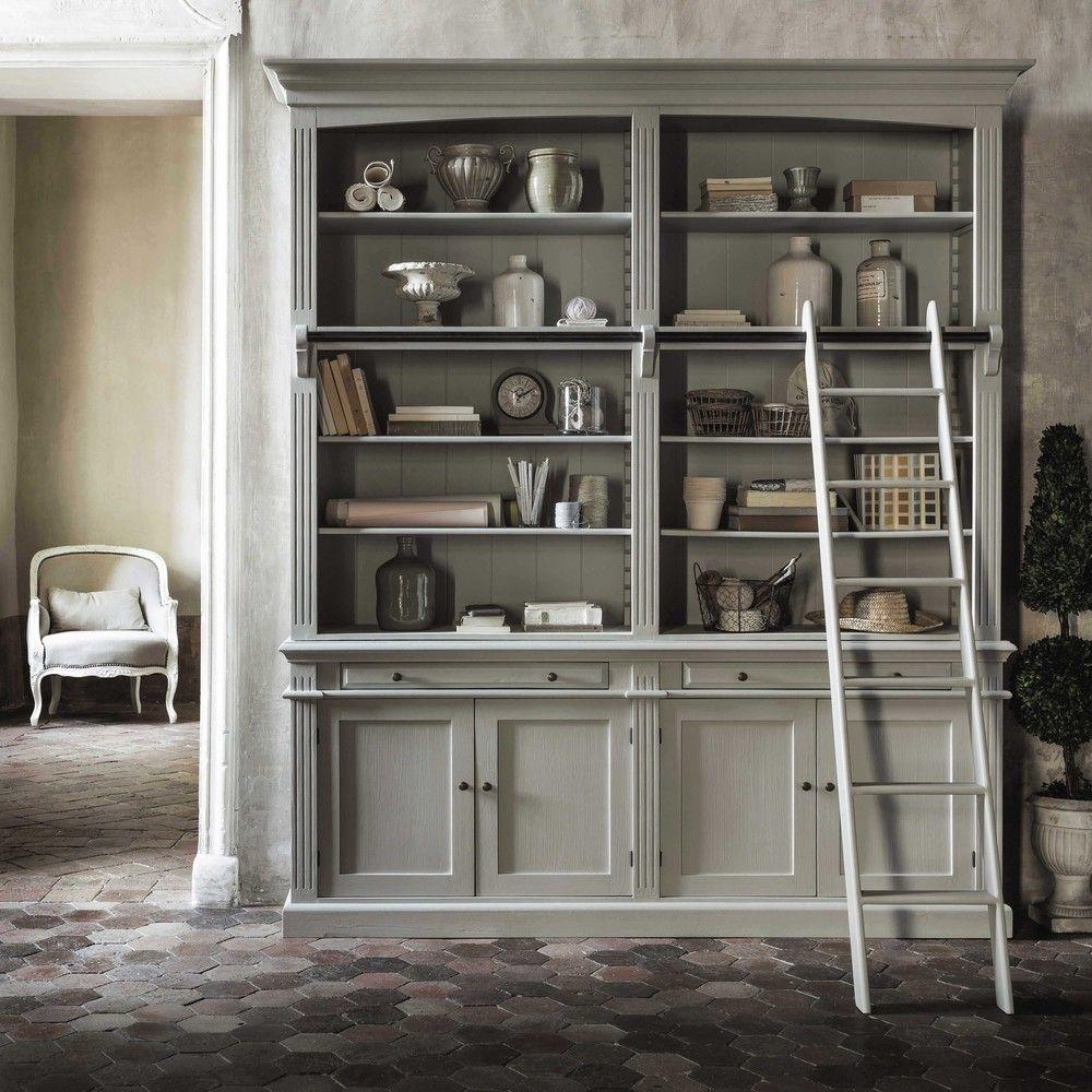 biblioth que avec chelle grise maisons du monde id es. Black Bedroom Furniture Sets. Home Design Ideas