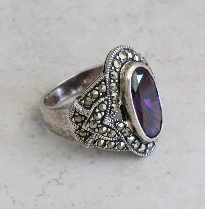 Amethyst Earring...Sterling Silver,Silvet earring...Handcrafted...Vintage 1980s...Hippie...February Birthstone...Gift...Vintage Shop...