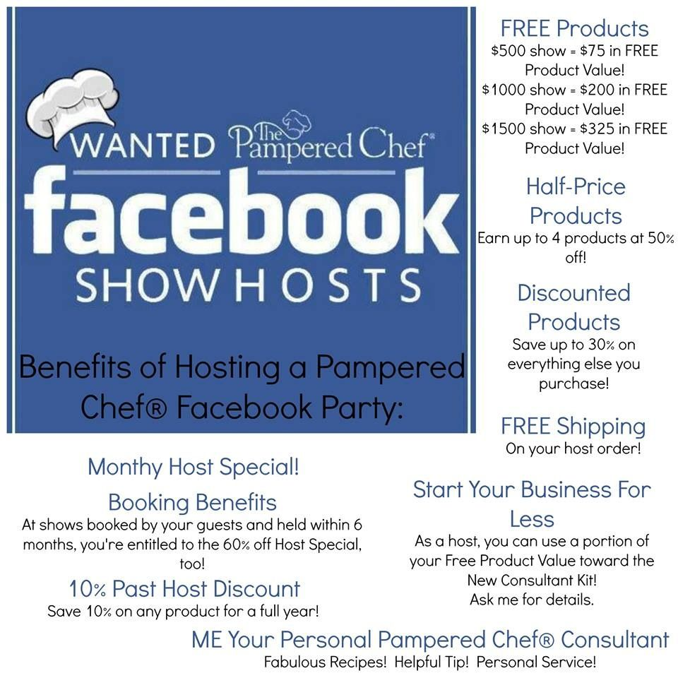 Book your pampered chef face book party today! Enjoy all the host ...