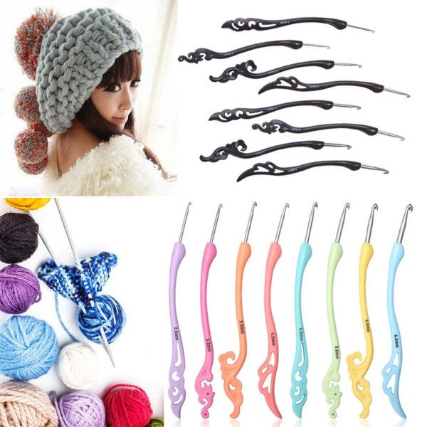 8Pcs Soft Handle Aluminum Crochet Hook Set Knitting Blanket Weave ...