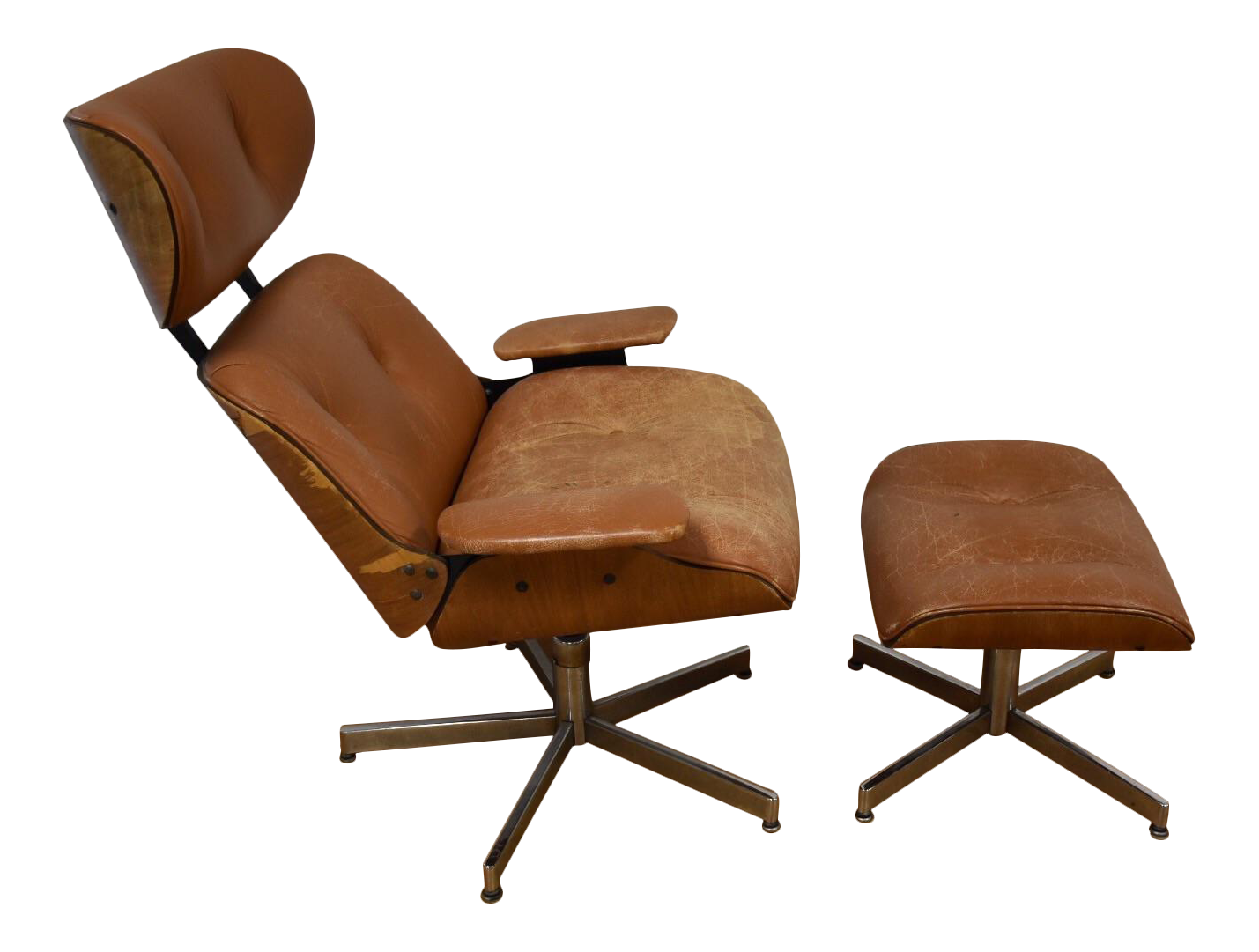 A Mid Century Modern Leather Lounge Chair And Ottoman With Bent Walnut Plywood Chrome Bases Has Some Veneer Damage The Original