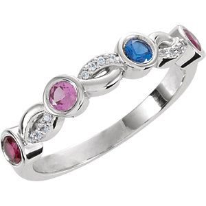 Continuum Sterling Silver 5 Stone Ring Mounting for Mother