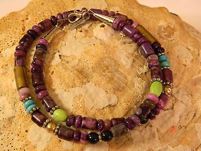 Tommy Singer 18 Inch Purple Sugilite Turquoise Sterling Necklace Native American - http://elegant.designerjewelrygalleria.com/tommy-singer/tommy-singer-18-inch-purple-sugilite-turquoise-sterling-necklace-native-american/