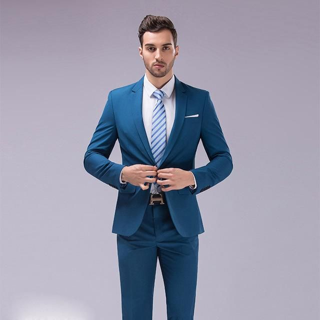 16a83cca5ba Men s 2 Piece Single Breasted Slim Fit Business Formal Suit in viscose