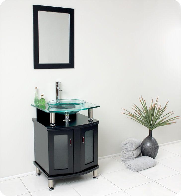 Fresca Contento Modern Bathroom Vanity W Tempered Glass Sink - 24 contemporary bathroom vanity