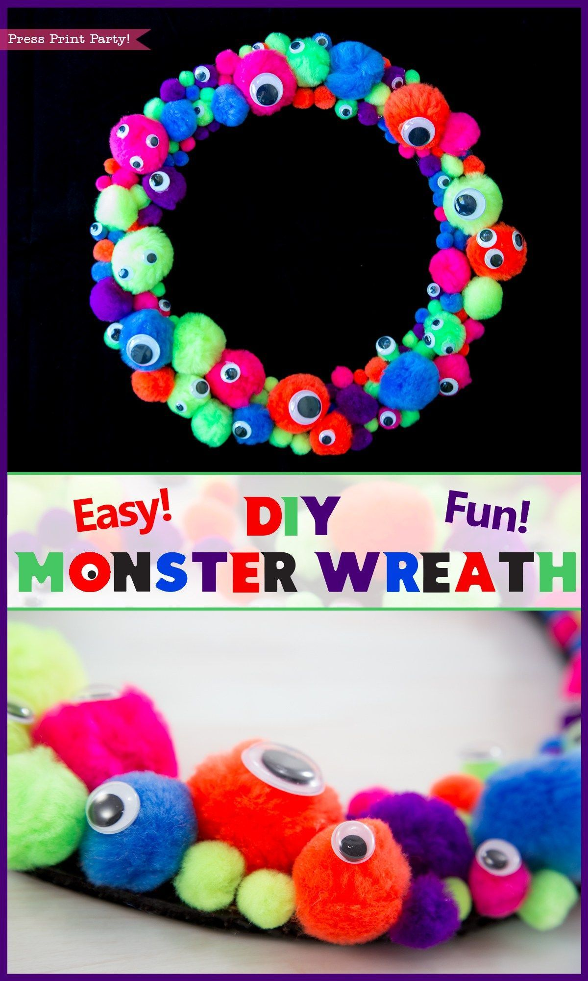 Easy and Fun Monster Wreath DIY by Press Print Party! Craft - cute homemade halloween decorations