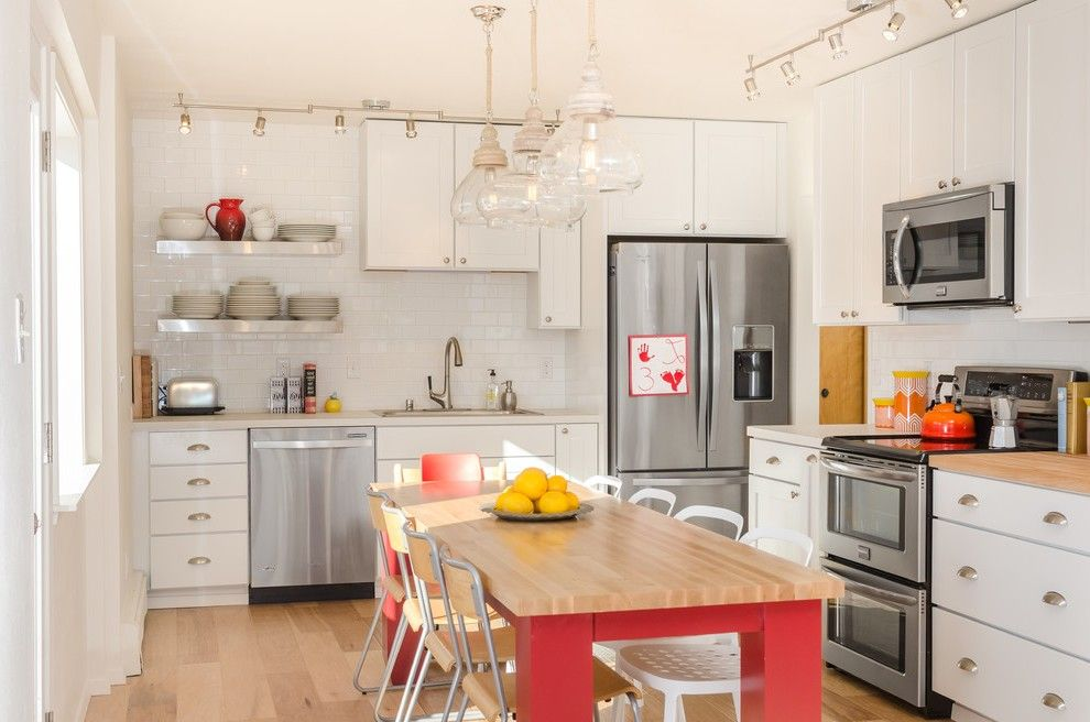 Modern Kitchen Images Midcentury with White Countertop Contemporary Pendant Lights