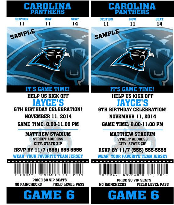 Printable Birthday Party Invitation Card Carolina Panthers ...